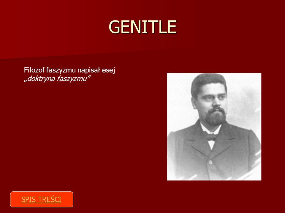 GENITLE Filozof faszyzmu napisał esejdoktryna faszyzmu SPIS TREŚCI