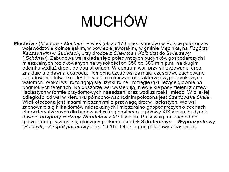 MUCHÓW Muchów - (Muchow - Mochau) – wieś (około 170 mieszkańców) w Polsce położona w województwie dolnośląskim, w powiecie jaworskim, w gminie Męcinka