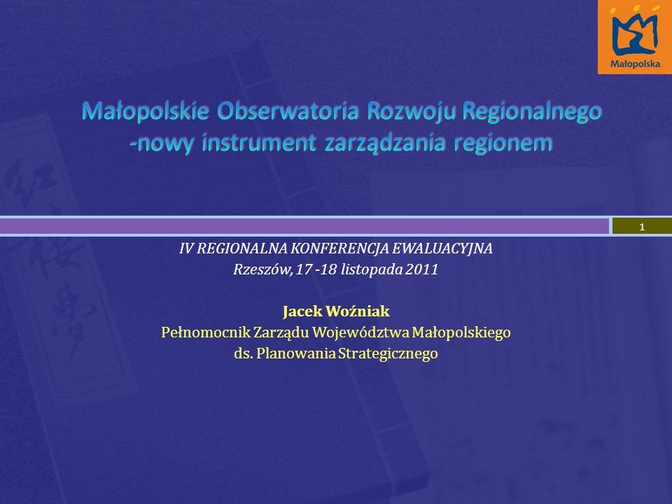 IV REGIONALNA KONFERENCJA EWALUACYJNA Rzeszów, 17 -18 listopada 2011 Jacek Woźniak Pełnomocnik Zarządu Województwa Małopolskiego ds.