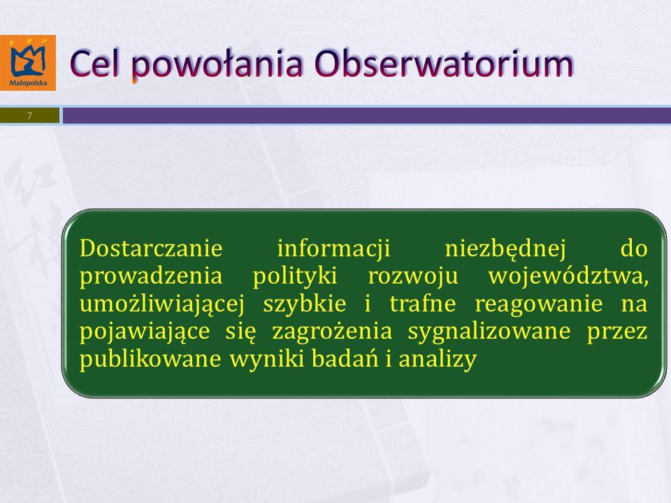 Dostarczanie informacji niezbędnej do prowadzenia polityki rozwoju województwa, umożliwiającej szybkie i trafne reagowanie na pojawiające się zagrożenia sygnalizowane przez publikowane wyniki badań i analizy 7