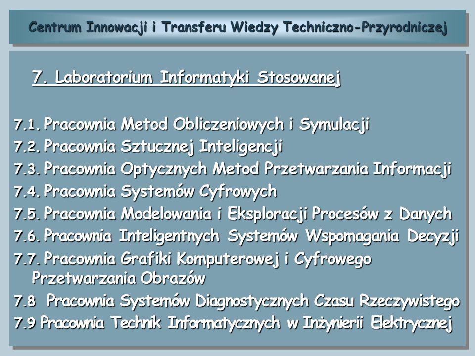 Centrum Innowacji i Transferu Wiedzy Techniczno-Przyrodniczej 7. Laboratorium Informatyki Stosowanej 7.1. Pracownia Metod Obliczeniowych i Symulacji 7