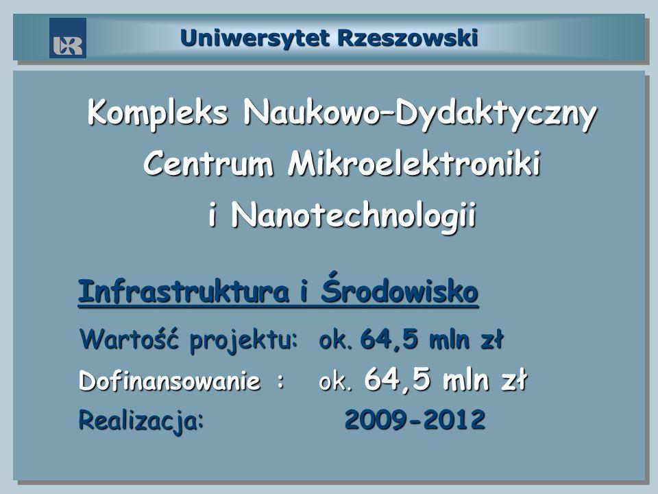 Uniwersytet Rzeszowski Kompleks Naukowo–Dydaktyczny Centrum Mikroelektroniki i Nanotechnologii Infrastruktura i Środowisko Wartość projektu: ok. 64,5