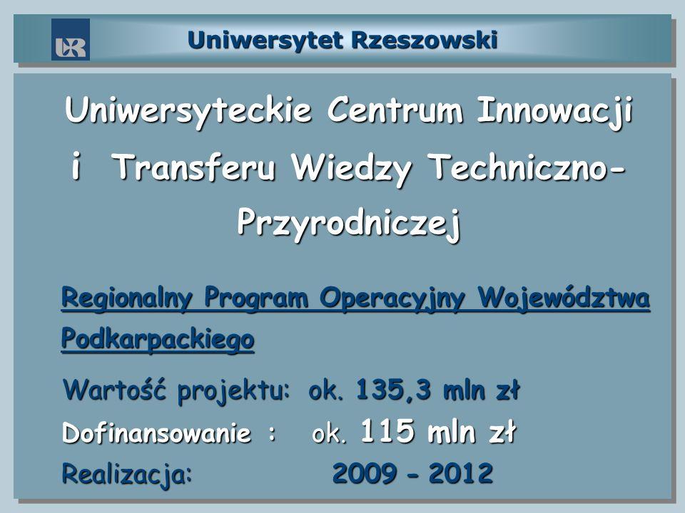 Uniwersytet Rzeszowski Uniwersyteckie Centrum Innowacji i Transferu Wiedzy Techniczno- Przyrodniczej Regionalny Program Operacyjny Województwa Podkarp