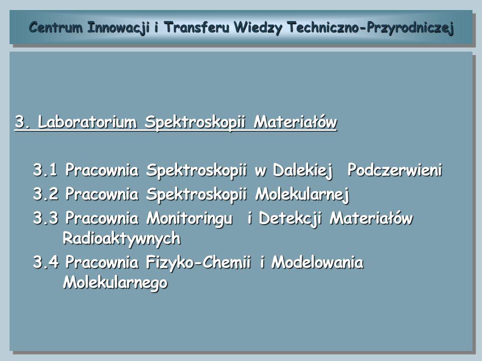 Centrum Innowacji i Transferu Wiedzy Techniczno-Przyrodniczej 3. Laboratorium Spektroskopii Materiałów 3.1 Pracownia Spektroskopii w Dalekiej Podczerw