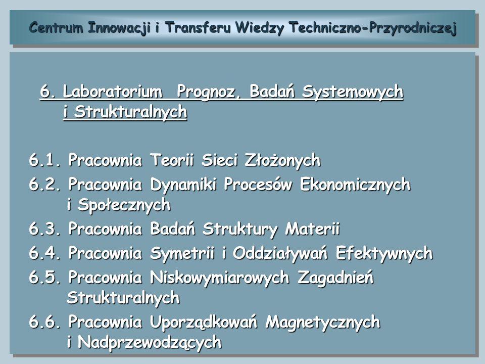 Centrum Innowacji i Transferu Wiedzy Techniczno-Przyrodniczej 6. Laboratorium Prognoz, Badań Systemowych i Strukturalnych 6. Laboratorium Prognoz, Bad