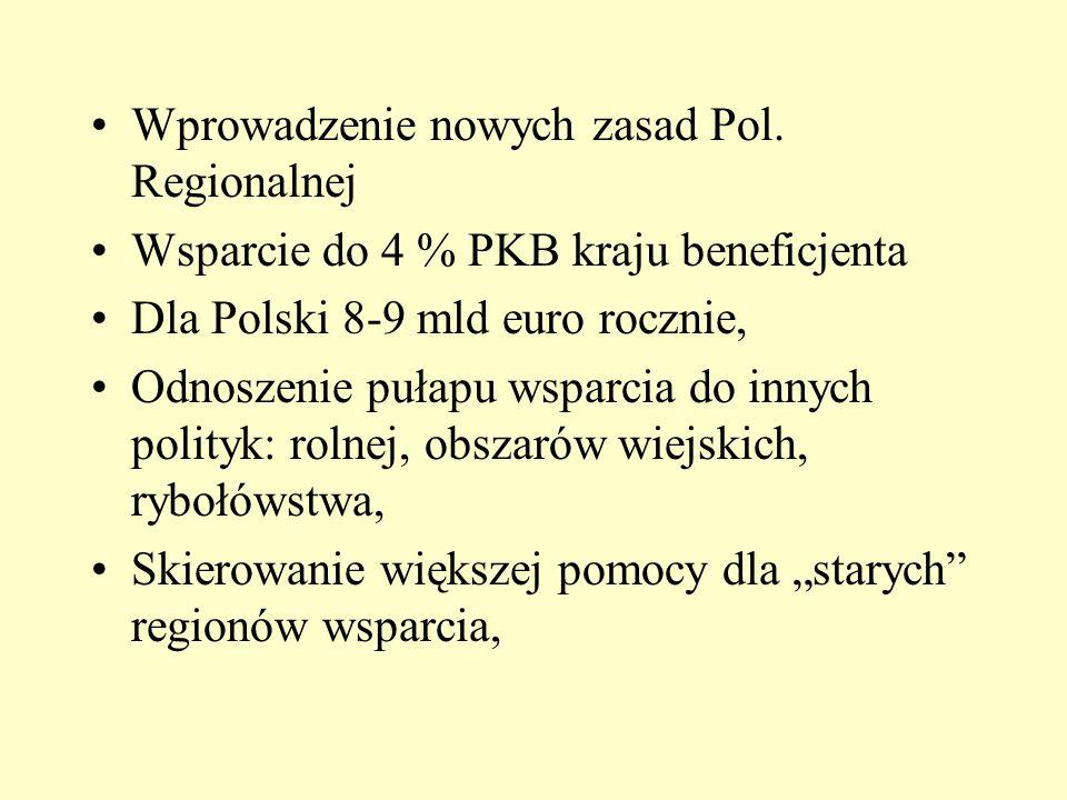 Wprowadzenie nowych zasad Pol. Regionalnej Wsparcie do 4 % PKB kraju beneficjenta Dla Polski 8-9 mld euro rocznie, Odnoszenie pułapu wsparcia do innyc
