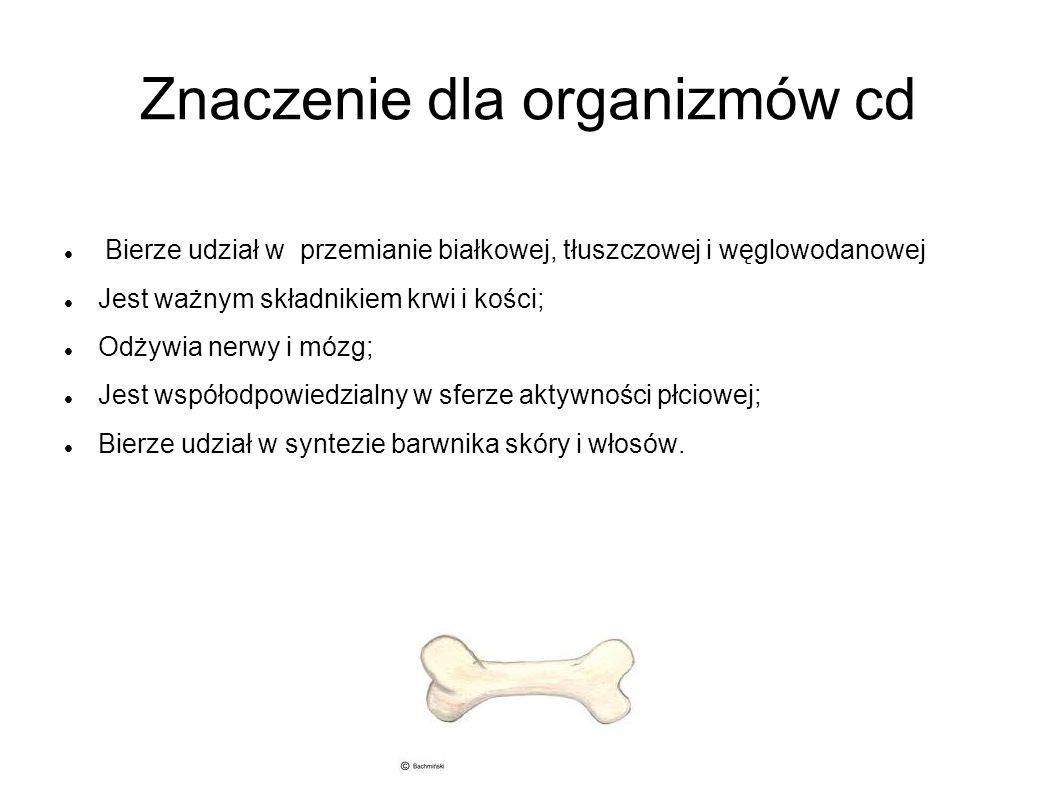 Znaczenie dla organizmów cd Bierze udział w przemianie białkowej, tłuszczowej i węglowodanowej Jest ważnym składnikiem krwi i kości; Odżywia nerwy i m