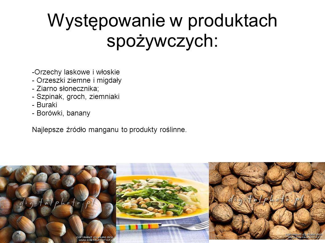 Występowanie w produktach spożywczych: -Orzechy laskowe i włoskie - Orzeszki ziemne i migdały - Ziarno słonecznika; - Szpinak, groch, ziemniaki - Bura
