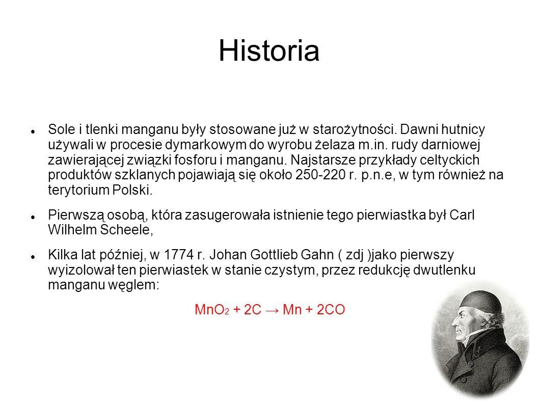 Historia Sole i tlenki manganu były stosowane już w starożytności. Dawni hutnicy używali w procesie dymarkowym do wyrobu żelaza m.in. rudy darniowej z