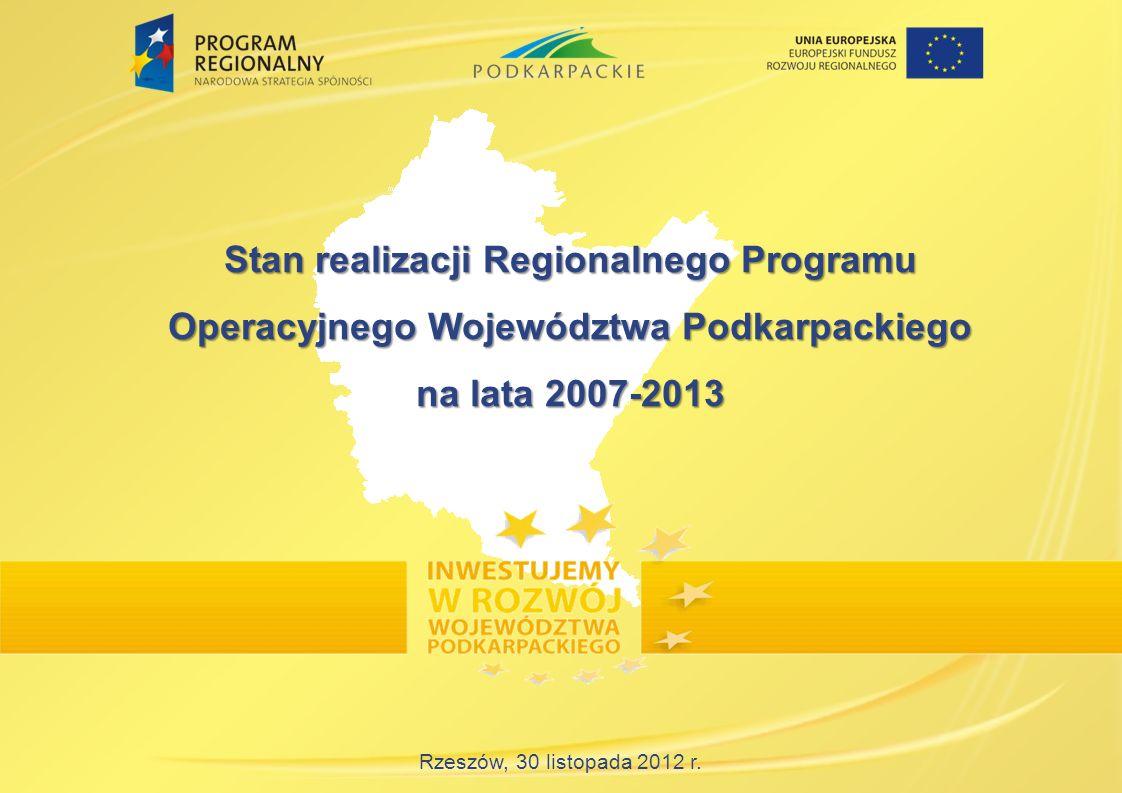 Rzeszów, 30 listopada 2012 r. Stan realizacji Regionalnego Programu Operacyjnego Województwa Podkarpackiego na lata 2007-2013