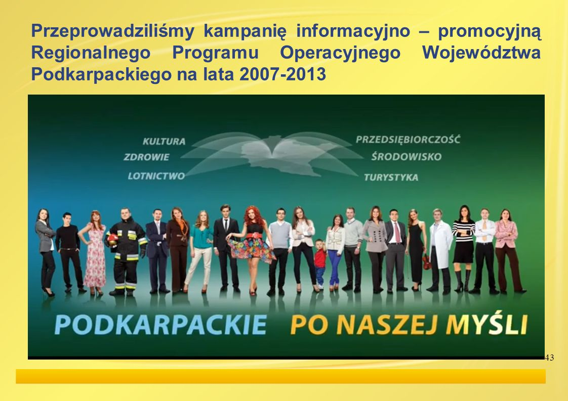 43 Przeprowadziliśmy kampanię informacyjno – promocyjną Regionalnego Programu Operacyjnego Województwa Podkarpackiego na lata 2007-2013