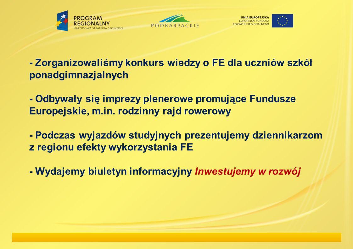 - Zorganizowaliśmy konkurs wiedzy o FE dla uczniów szkół ponadgimnazjalnych - Odbywały się imprezy plenerowe promujące Fundusze Europejskie, m.in. rod