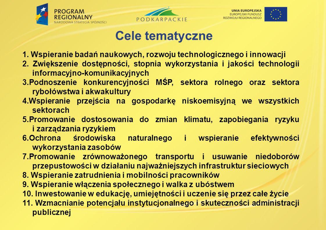 1. Wspieranie badań naukowych, rozwoju technologicznego i innowacji 2. Zwiększenie dostępności, stopnia wykorzystania i jakości technologii informacyj