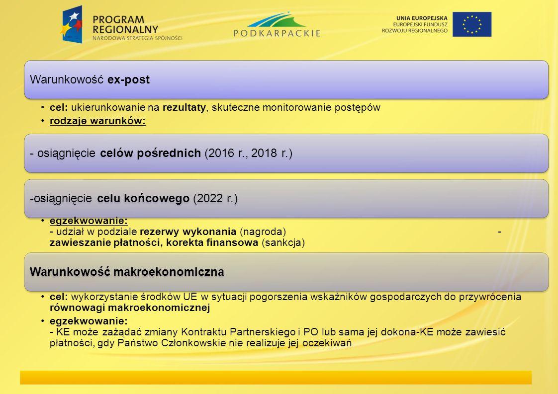 Warunkowość ex-post cel: ukierunkowanie na rezultaty, skuteczne monitorowanie postępów rodzaje warunków: - osiągnięcie celów pośrednich (2016 r., 2018