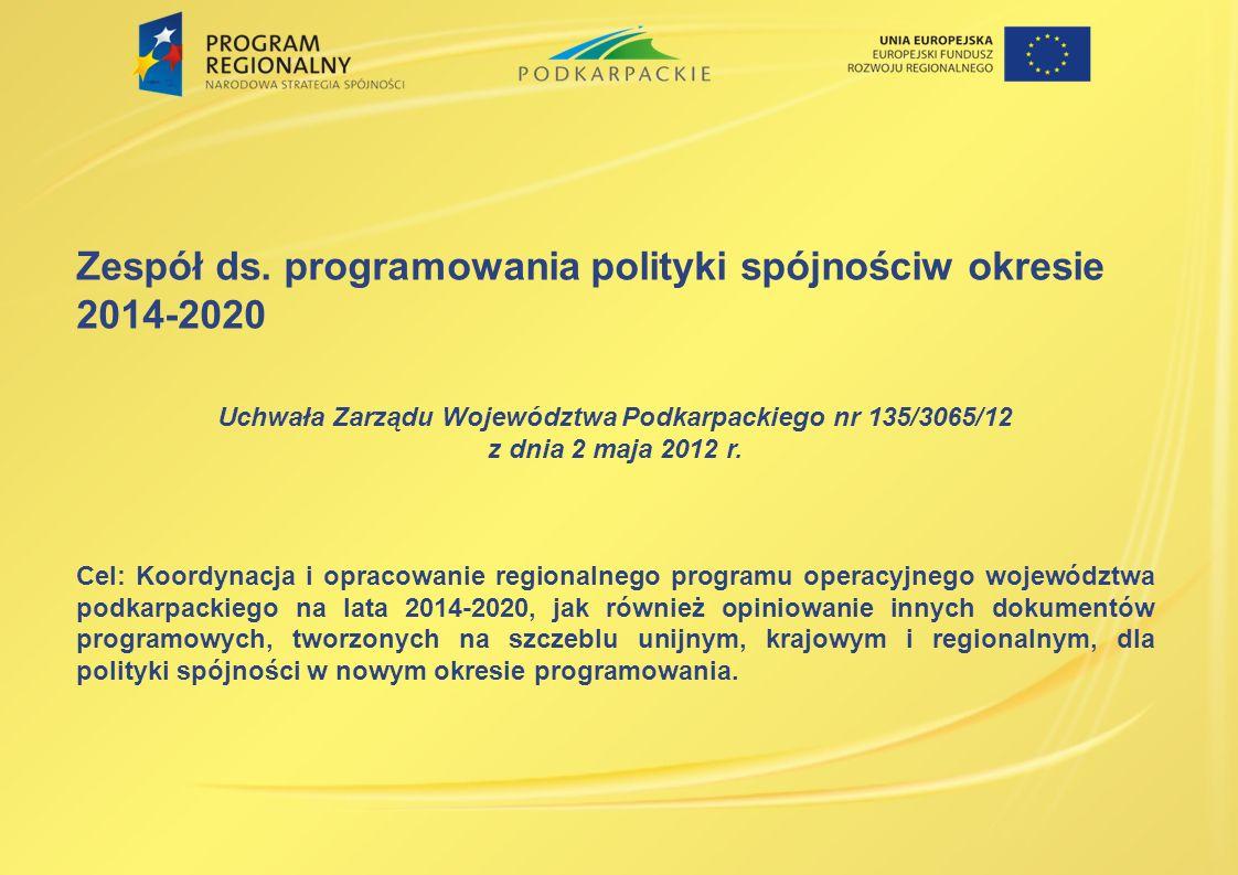 Zespół ds. programowania polityki spójnościw okresie 2014-2020 Uchwała Zarządu Województwa Podkarpackiego nr 135/3065/12 z dnia 2 maja 2012 r. Cel: Ko