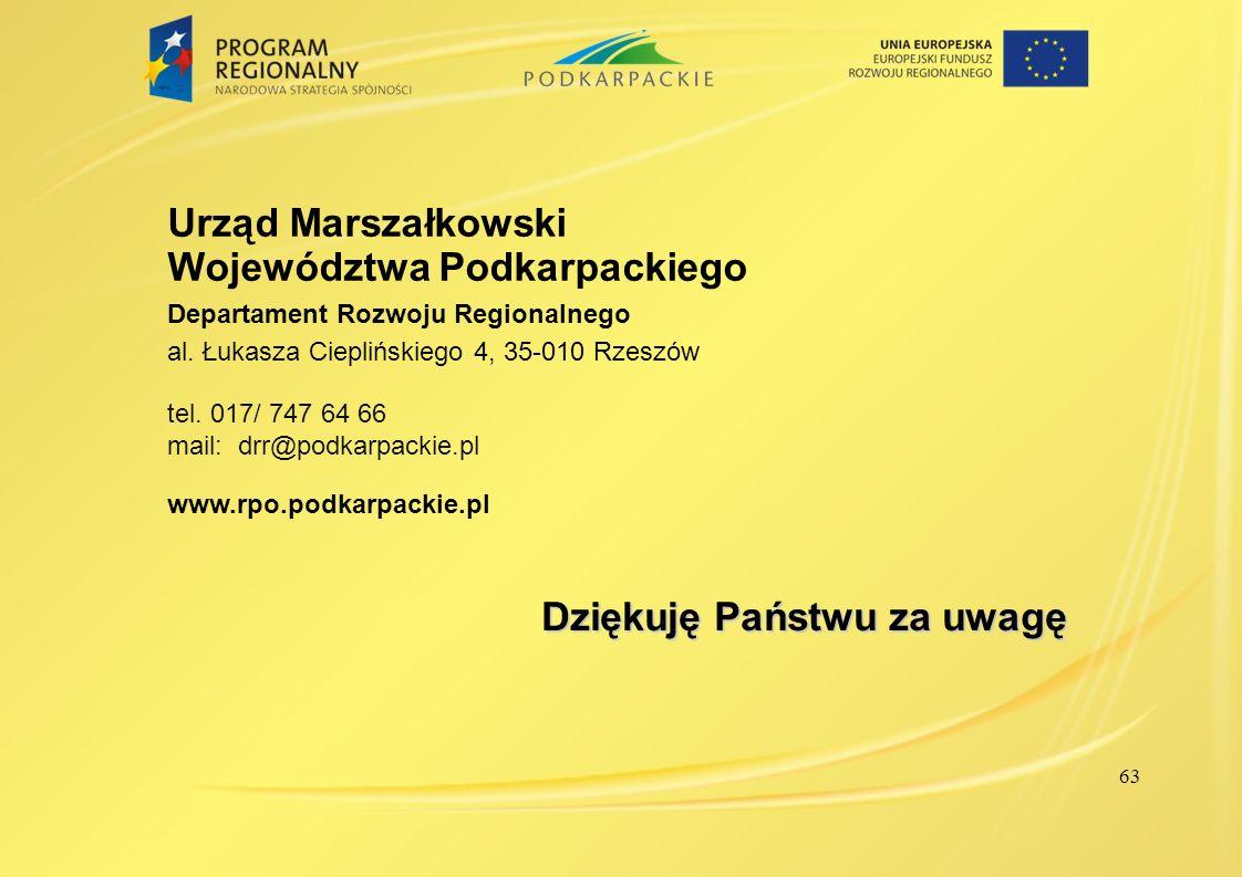 Urząd Marszałkowski Województwa Podkarpackiego Departament Rozwoju Regionalnego al. Łukasza Cieplińskiego 4, 35-010 Rzeszów tel. 017/ 747 64 66 mail: