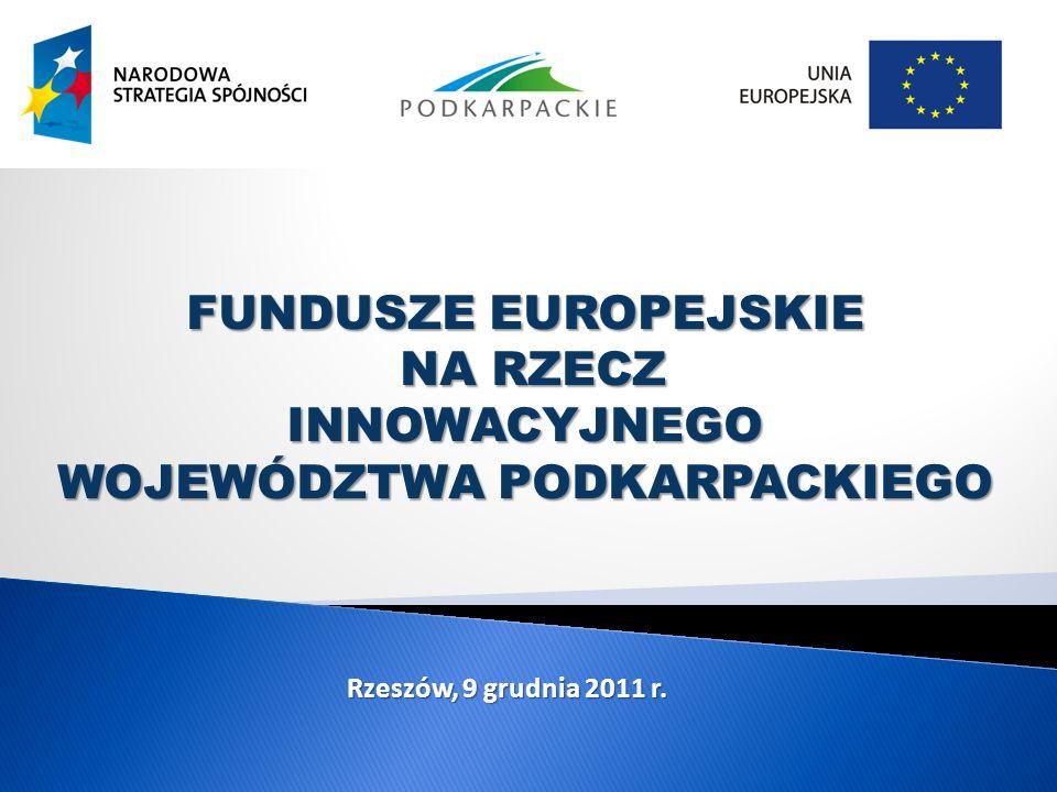 FUNDUSZE EUROPEJSKIE NA RZECZ NA RZECZINNOWACYJNEGO WOJEWÓDZTWA PODKARPACKIEGO Rzeszów, 9 grudnia 2011 r.