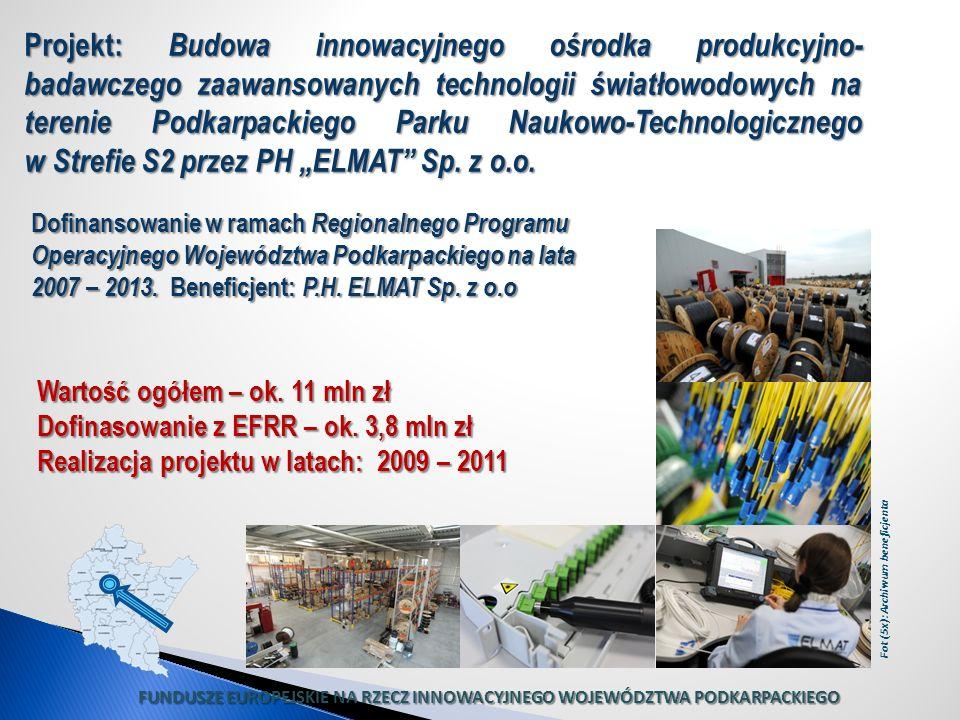 Wartość ogółem – ok. 11 mln zł Dofinasowanie z EFRR – ok. 3,8 mln zł Realizacja projektu w latach: 2009 – 2011 Projekt: Budowa innowacyjnego ośrodka p
