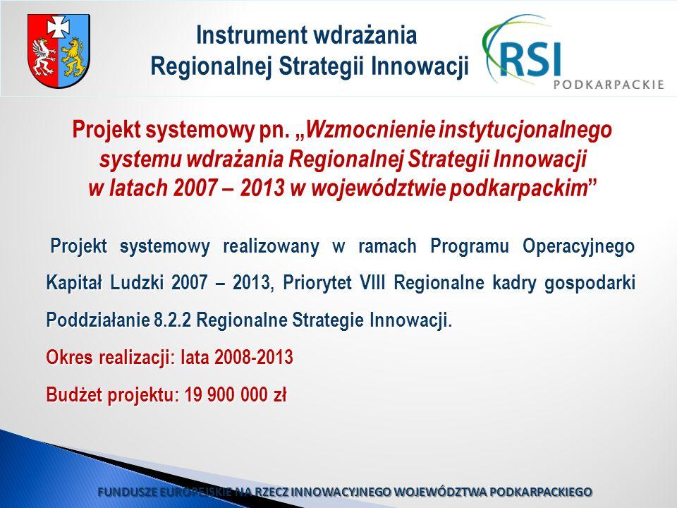 Projekt systemowy pn. Wzmocnienie instytucjonalnego systemu wdrażania Regionalnej Strategii Innowacji w latach 2007 – 2013 w województwie podkarpackim