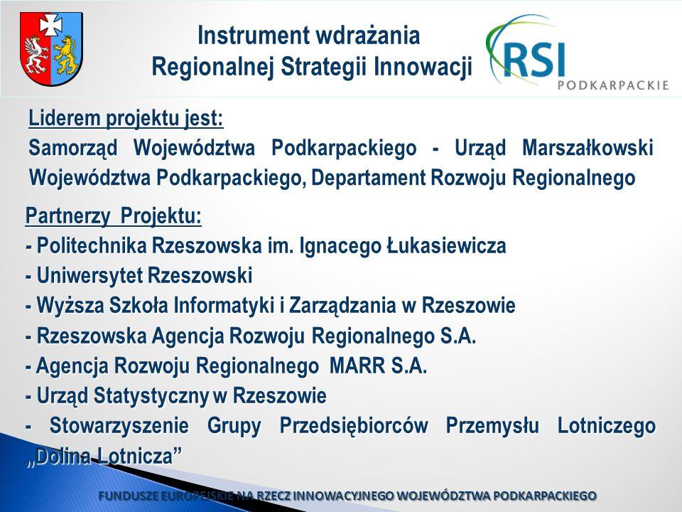 Liderem projektu jest: Samorząd Województwa Podkarpackiego - Urząd Marszałkowski Województwa Podkarpackiego, Departament Rozwoju Regionalnego Instrume