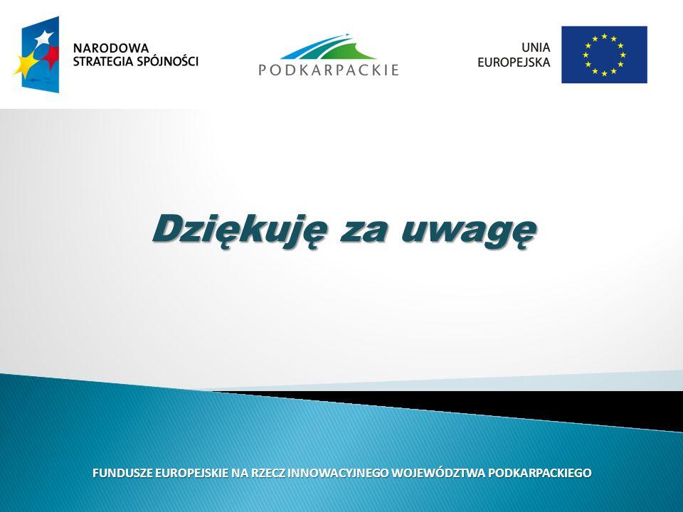 Dziękuję za uwagę FUNDUSZE EUROPEJSKIE NA RZECZ INNOWACYJNEGO WOJEWÓDZTWA PODKARPACKIEGO
