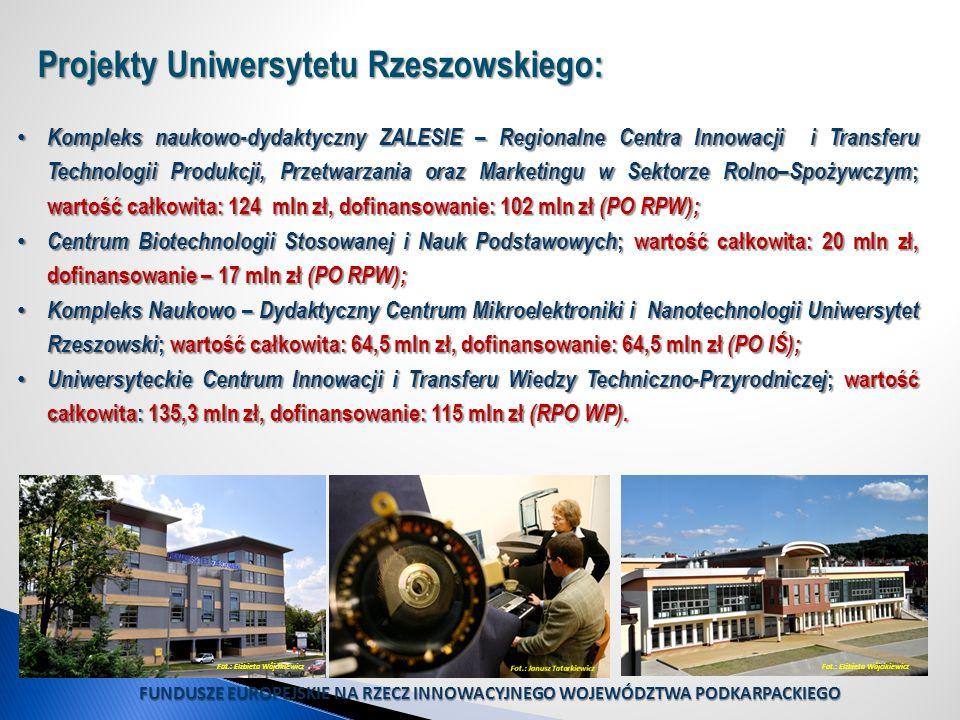 Projekty Uniwersytetu Rzeszowskiego: Kompleks naukowo-dydaktyczny ZALESIE – Regionalne Centra Innowacji i Transferu Technologii Produkcji, Przetwarzan