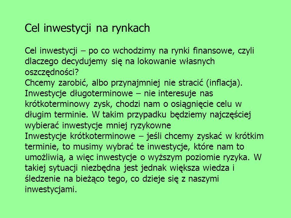 Cel inwestycji na rynkach Cel inwestycji – po co wchodzimy na rynki finansowe, czyli dlaczego decydujemy się na lokowanie własnych oszczędności? Chcem