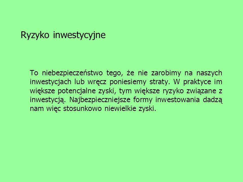 Rynek papierów udziałowych Polskie indeksy giełdowe: WIG warszawski indeks giełdowy WIG20 TECHWIG MIDWIG NIF indeks narodowych funduszy inwestycyjnych WIG-TELKOM WIG-INFO WIG-SPOZYW WIG-BUDOW WIG-BANKI WIRR warszawski indeks rynku równoległego