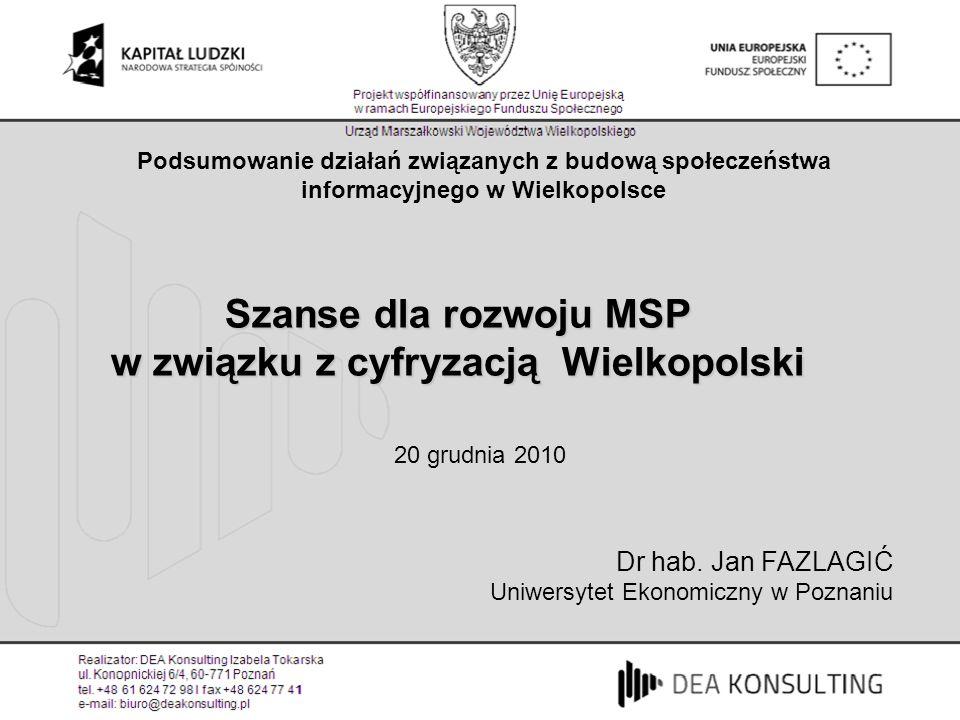Podsumowanie działań związanych z budową społeczeństwa informacyjnego w Wielkopolsce Szanse dla rozwoju MSP w związku z cyfryzacją Wielkopolski Dr hab.