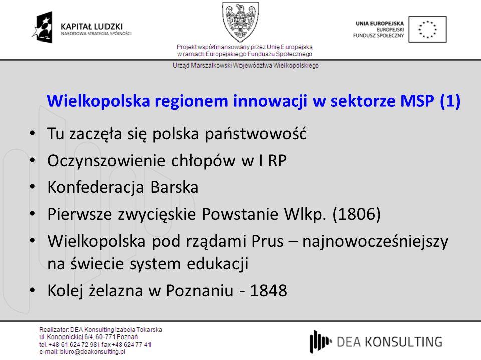 Wielkopolska regionem innowacji w sektorze MSP (1) Tu zaczęła się polska państwowość Oczynszowienie chłopów w I RP Konfederacja Barska Pierwsze zwycię