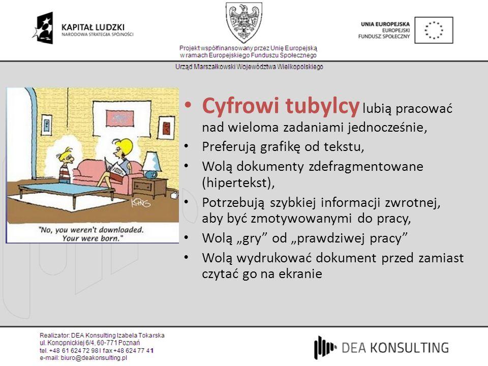 Cyfrowi tubylcy lubią pracować nad wieloma zadaniami jednocześnie, Preferują grafikę od tekstu, Wolą dokumenty zdefragmentowane (hipertekst), Potrzebu