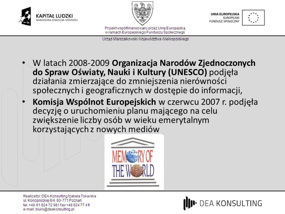 W latach 2008-2009 Organizacja Narodów Zjednoczonych do Spraw Oświaty, Nauki i Kultury (UNESCO) podjęła działania zmierzające do zmniejszenia nierówności społecznych i geograficznych w dostępie do informacji, Komisja Wspólnot Europejskich w czerwcu 2007 r.