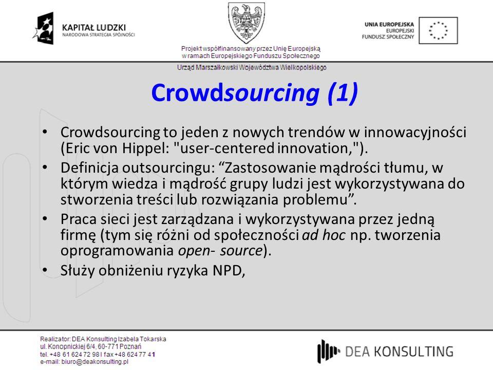 Crowdsourcing (1) Crowdsourcing to jeden z nowych trendów w innowacyjności (Eric von Hippel: