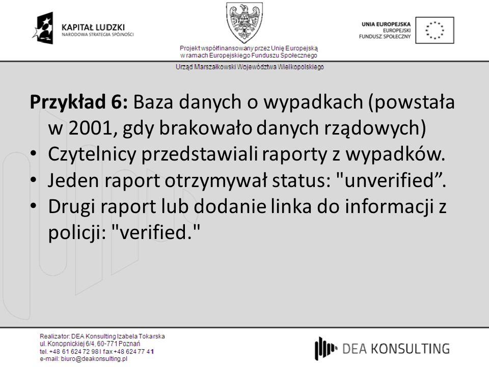 Przykład 6: Baza danych o wypadkach (powstała w 2001, gdy brakowało danych rządowych) Czytelnicy przedstawiali raporty z wypadków. Jeden raport otrzym