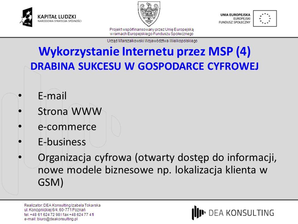 Wykorzystanie Internetu przez MSP (4) DRABINA SUKCESU W GOSPODARCE CYFROWEJ E-mail Strona WWW e-commerce E-business Organizacja cyfrowa (otwarty dostęp do informacji, nowe modele biznesowe np.