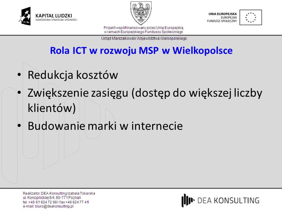Rola ICT w rozwoju MSP w Wielkopolsce Redukcja kosztów Zwiększenie zasięgu (dostęp do większej liczby klientów) Budowanie marki w internecie