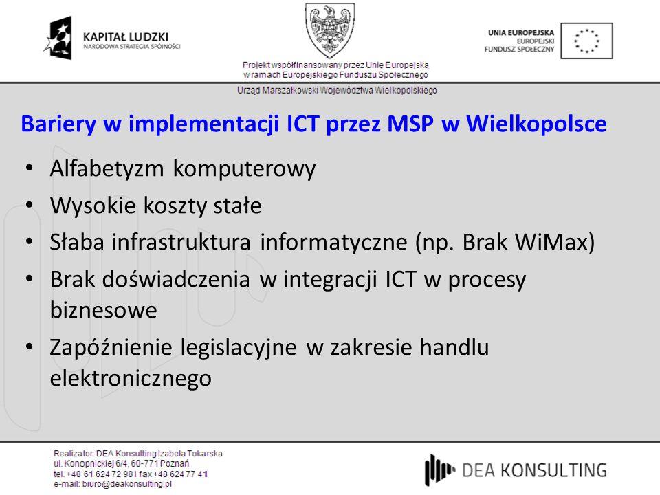 Bariery w implementacji ICT przez MSP w Wielkopolsce Alfabetyzm komputerowy Wysokie koszty stałe Słaba infrastruktura informatyczne (np.