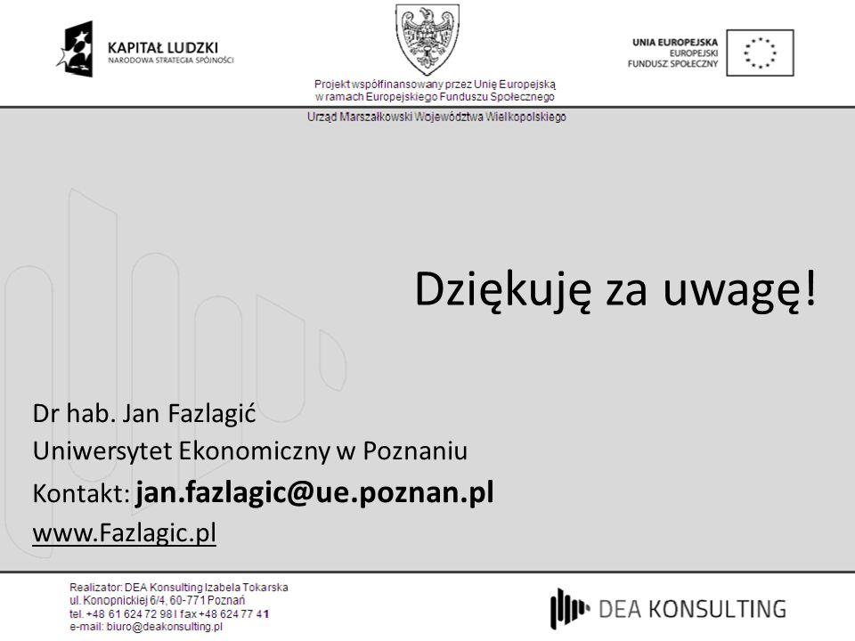 Dziękuję za uwagę! Dr hab. Jan Fazlagić Uniwersytet Ekonomiczny w Poznaniu Kontakt: jan.fazlagic@ue.poznan.pl www.Fazlagic.pl