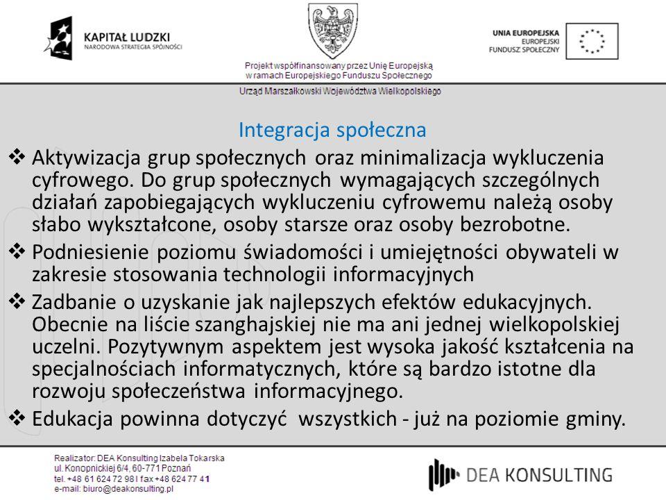 Usługi administracji publicznej Postuluję jak najszybsze osiągnięcie poziomu zarekomendowanych przez Komisję Europejską 20* podstawowych usług administracji publicznej, które powinny być w pełni dostępne on-line (szybciej w Wielkopolsce niż w reszcie kraju) Badania pokazują, że przedsiębiorcy w Polsce regularnie korzystają z dostępnych e-usług.