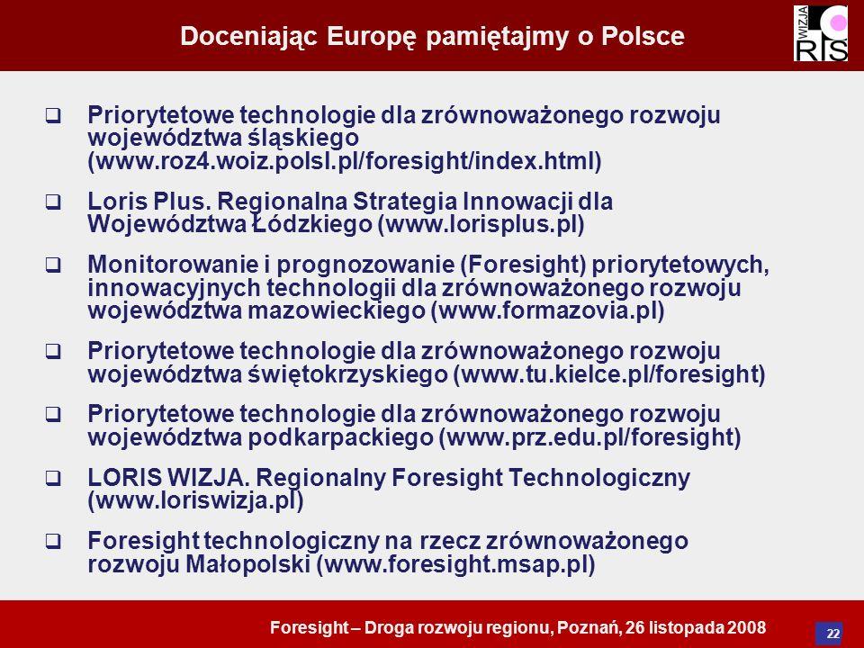 Foresight – Droga rozwoju regionu, Poznań, 26 listopada 2008 22 Doceniając Europę pamiętajmy o Polsce Priorytetowe technologie dla zrównoważonego rozw