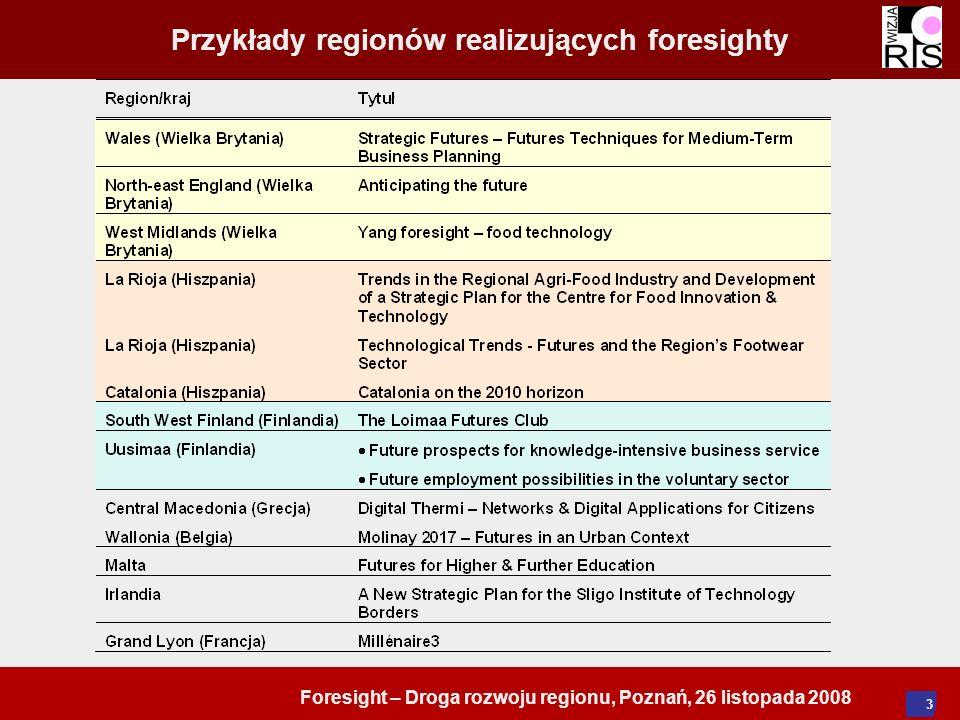 Foresight – Droga rozwoju regionu, Poznań, 26 listopada 2008 4 Przykłady stron internetowych zawierających informacje o foresightach regionalnych/metodach