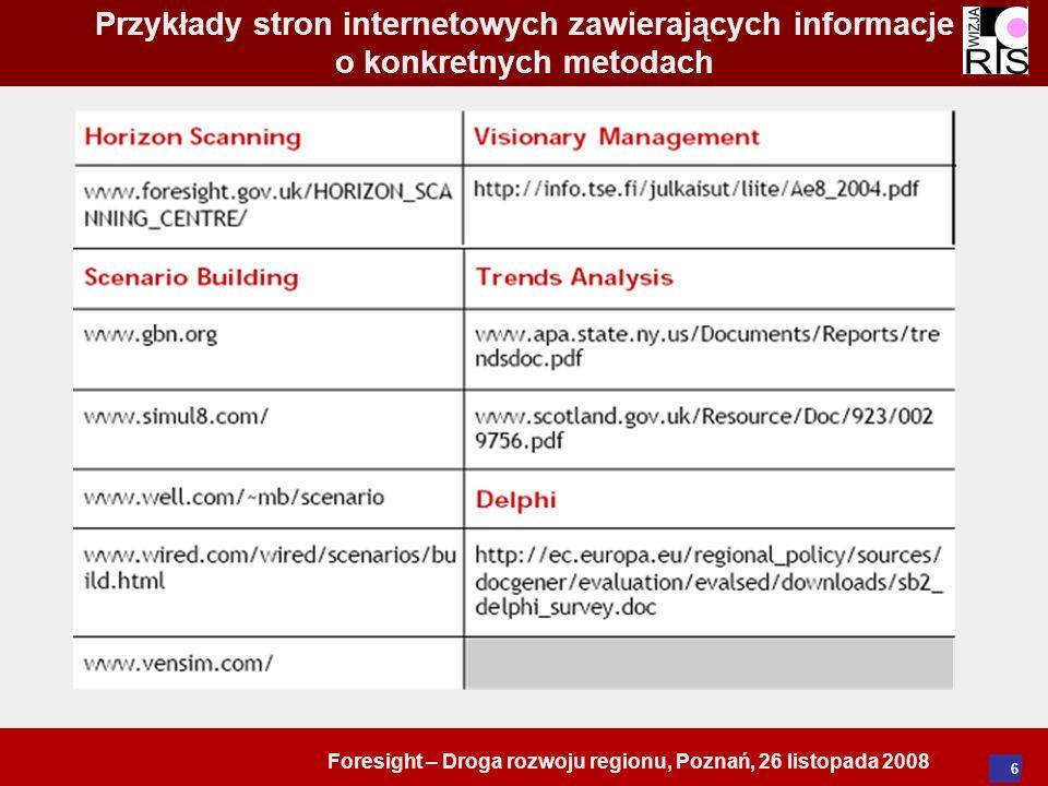 Foresight – Droga rozwoju regionu, Poznań, 26 listopada 2008 6 Przykłady stron internetowych zawierających informacje o konkretnych metodach
