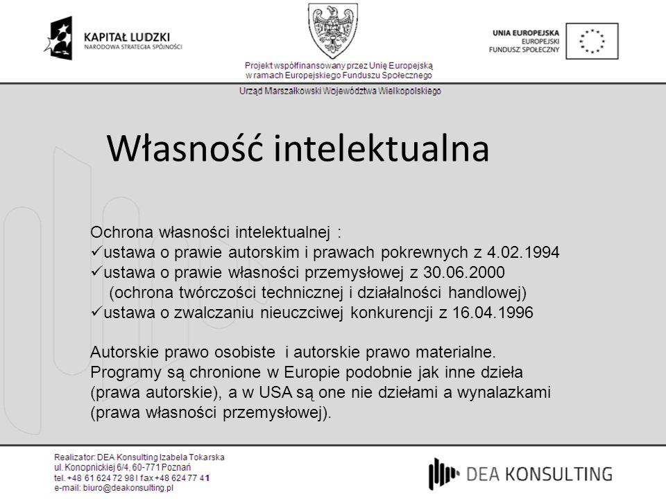 Własność intelektualna Ochrona własności intelektualnej : ustawa o prawie autorskim i prawach pokrewnych z 4.02.1994 ustawa o prawie własności przemys