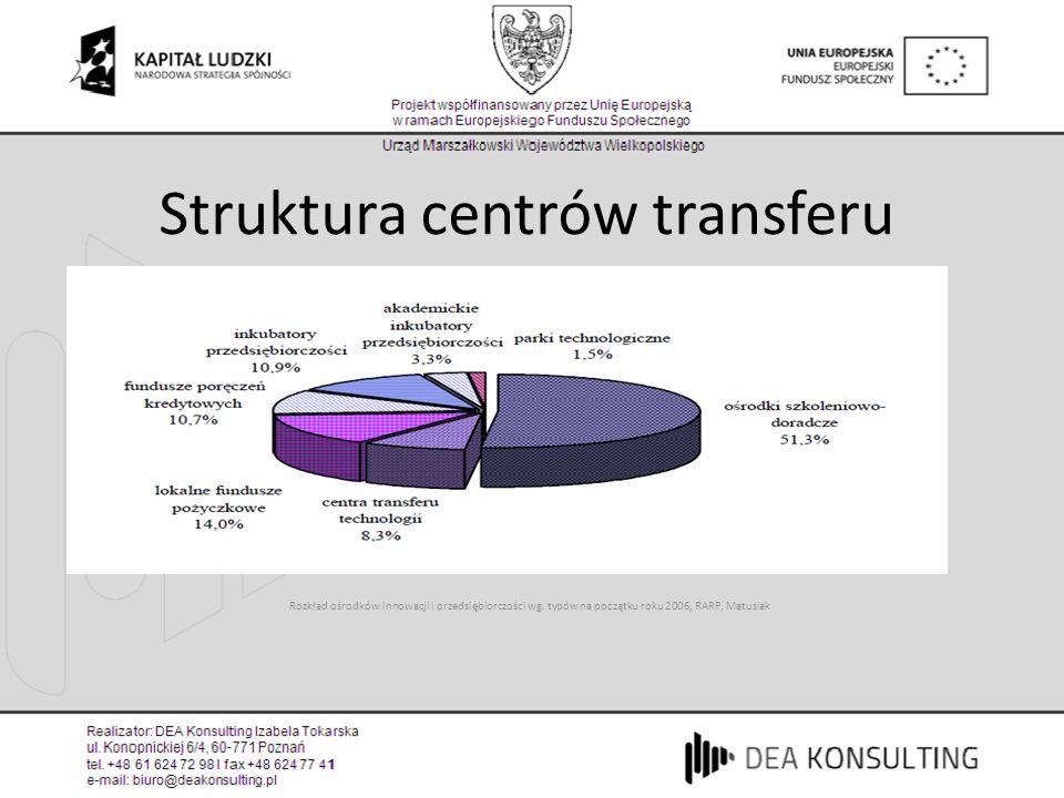 Rozkład ośrodków innowacji i przedsiębiorczości wg. typów na początku roku 2006, RARP, Matusiak Struktura centrów transferu