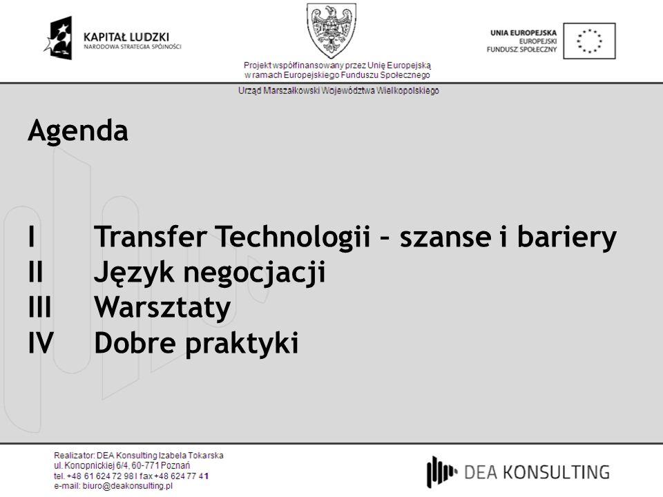 Agenda I Transfer Technologii – szanse i bariery IIJęzyk negocjacji IIIWarsztaty IVDobre praktyki