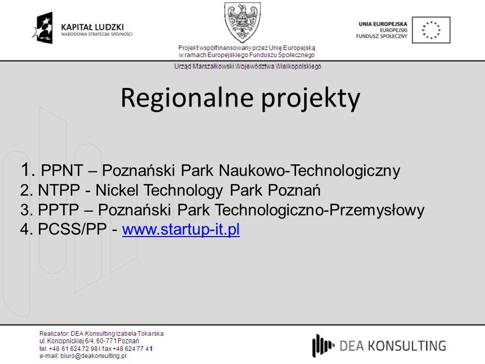 1. PPNT – Poznański Park Naukowo-Technologiczny 2. NTPP - Nickel Technology Park Poznań 3. PPTP – Poznański Park Technologiczno-Przemysłowy 4. PCSS/PP