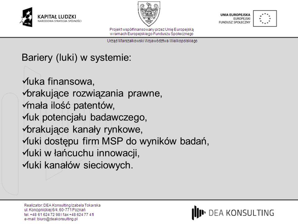 Bariery (luki) w systemie: luka finansowa, brakujące rozwiązania prawne, mała ilość patentów, luk potencjału badawczego, brakujące kanały rynkowe, luk