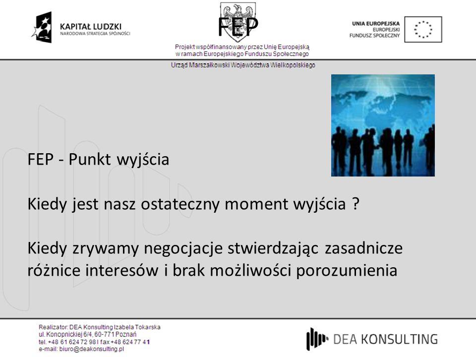 FEP FEP - Punkt wyjścia Kiedy jest nasz ostateczny moment wyjścia ? Kiedy zrywamy negocjacje stwierdzając zasadnicze różnice interesów i brak możliwoś