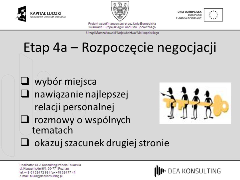 Etap 4a – Rozpoczęcie negocjacji wybór miejsca nawiązanie najlepszej relacji personalnej rozmowy o wspólnych tematach okazuj szacunek drugiej stronie
