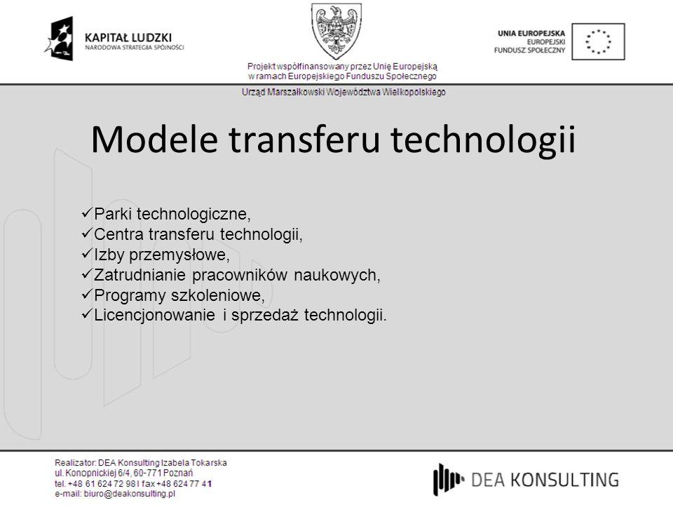 Modele transferu technologii Parki technologiczne, Centra transferu technologii, Izby przemysłowe, Zatrudnianie pracowników naukowych, Programy szkole